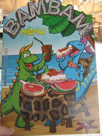 Bam Bam Ristosauro : menu