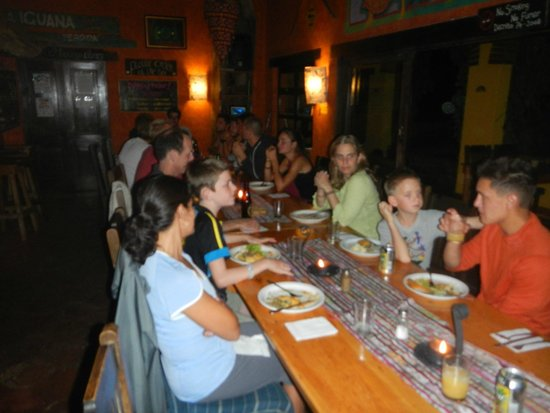 La Iguana Perdida Hotel: family style dinner with owners seated next to us