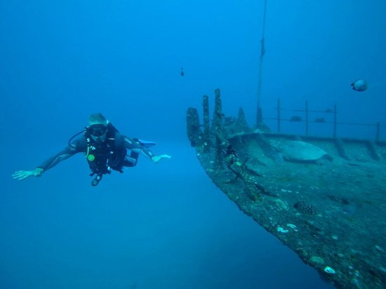 Kaimana Divers: Hovering by the bow of the Sea Tiger (with a green sea turtle)