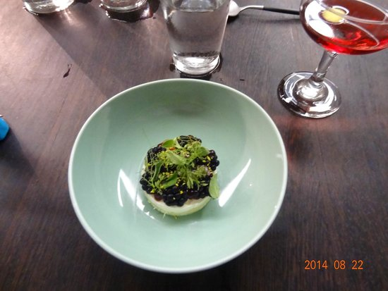 course 10: blackberry + cake + goats milk + herbs - Picture of The