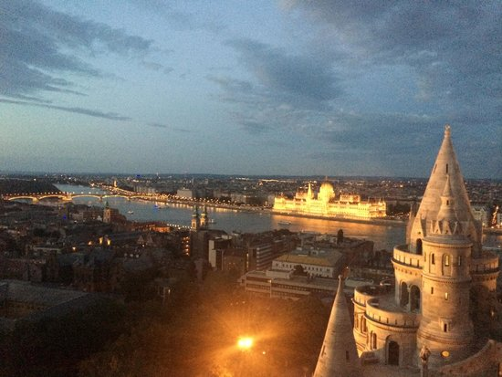 Hilton Budapest: View from our room at night