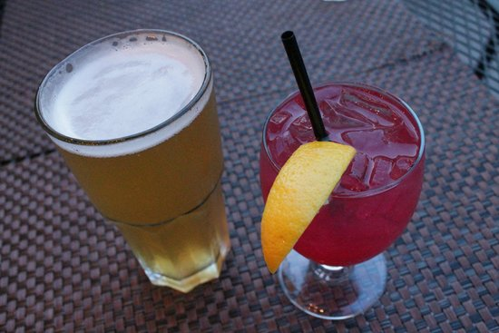 Morgan's Bistro: Chilliwack unfiltered blonde and a Singapore Sling.