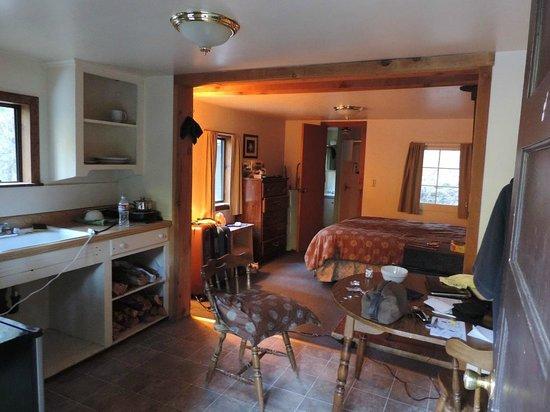 Stewart Mineral Springs Resort: Interior do chalé, à esquerda cozinha