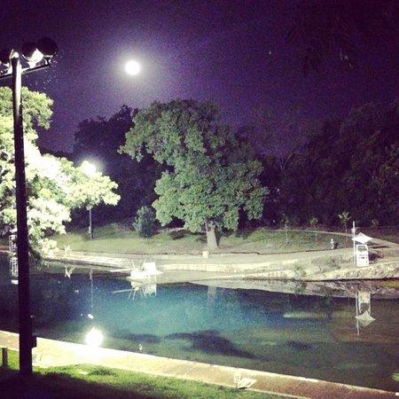 Barton Springs Pool: Barton springs at night.