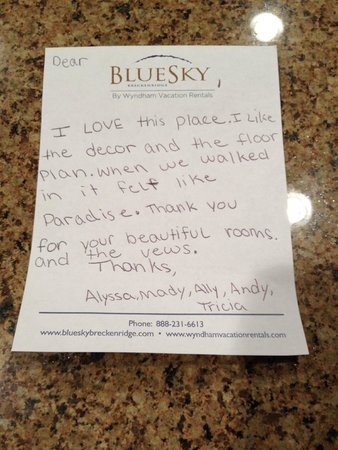 BlueSky Breckenridge: Note From Our Youngest Daughter