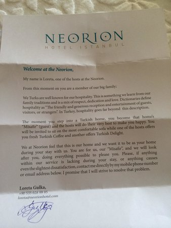 Welcome letter picture of neorion hotel istanbul tripadvisor neorion hotel welcome letter spiritdancerdesigns Choice Image