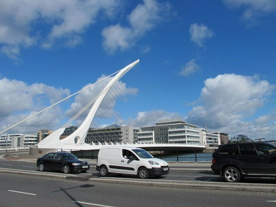 The Samuel Beckett bridge connects Dublin to the quay and Ferryman Hotel.