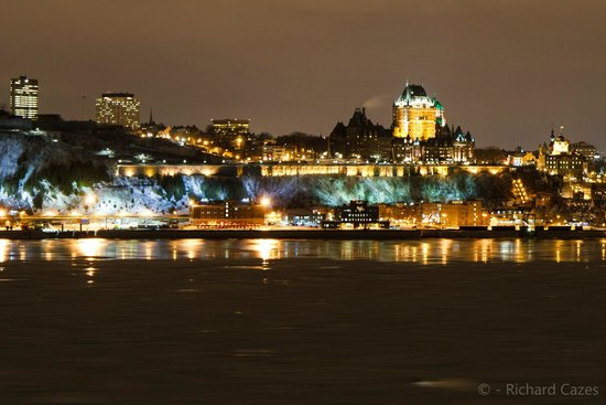 Old Quebec: View of Quebec City at night.