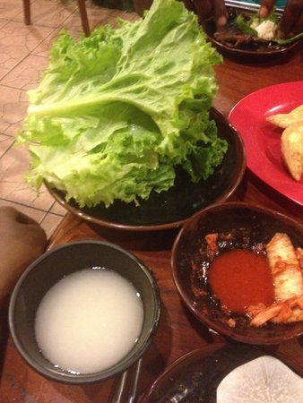 Rice Market & Restaurant: Fresh and crispy lettuce to wrap the beef and kimchi in.