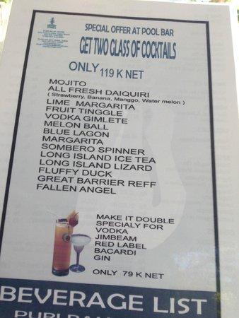 Puri Raja: Great cocktail menu - 2 for 1 prices