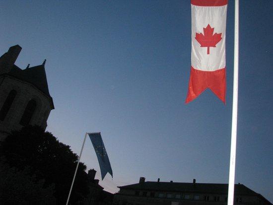 Hotel Reine Mathilde: Canadian Flag along the street in Bayeux