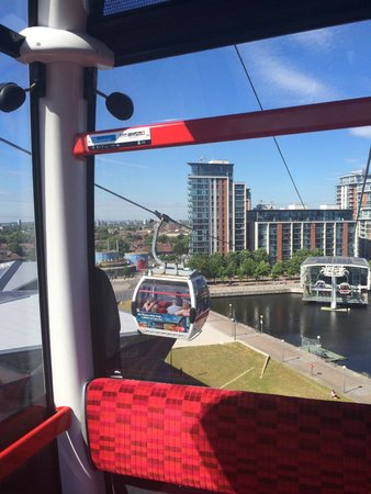 Emirates Air Line Cable Car - Royal Docks : Looking back towards Victoria Docks