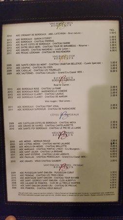 Bar a vins Ecole du vin a Bordeaux : Carta de vinos