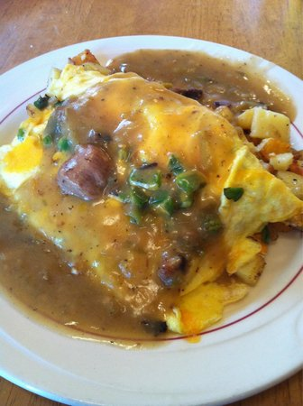 Saguache, CO: Mexican Omelet smothered in Green Chili
