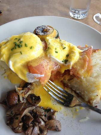 Thyme : Salmon eggs Benedict. Huge portion and wonderful flavors!