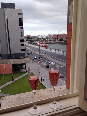 30 James Street, Home of the Titanic: Complementary bubbly and lovely view
