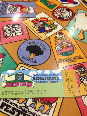 Ben & Jerry's: Ticket and B&J history table