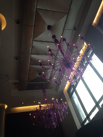 Royalton Park Avenue: Colorful chandeliers hanging in the lobby.