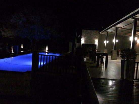 Shepherd's Tree Game Lodge: Night time poolside