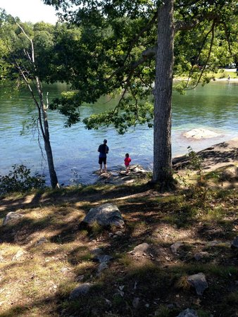 Wellesley Island State Park : Fishing from shore, near the sandy cove.
