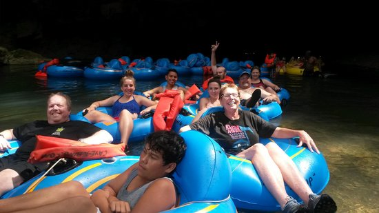 Butts Up Cave Tubing: Cave tubing (Belize) with our group