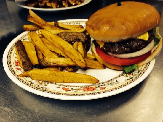 Southern Cafe and Such: Old fashion cheeseburger with hand cut fries