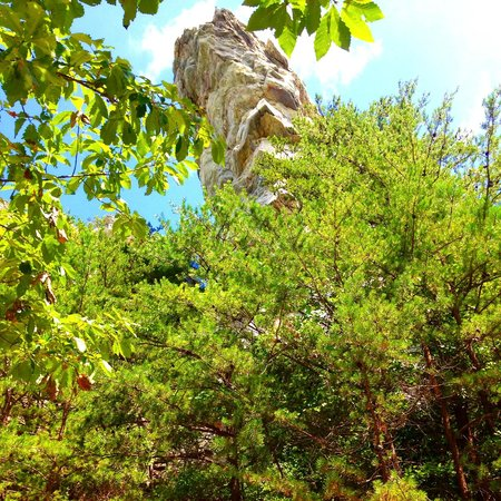 Hanging Rock State Park: Looking up to the top when you are getting close