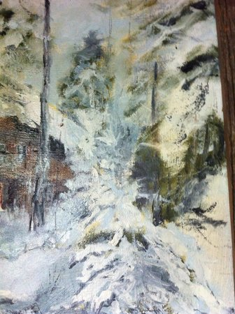 "Gunflint Pines Resort & Campgrounds: Painting by Charlotte in ""her"" cabin"