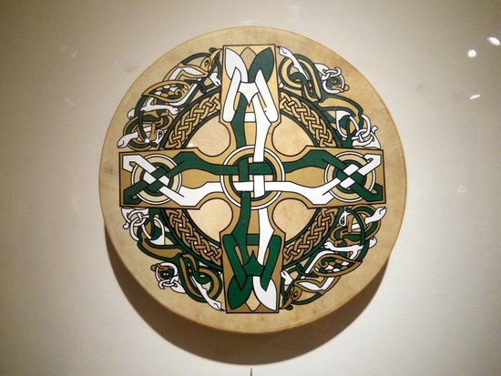 Mingei International Museum: Irish Frame Drum with Celtic Cross.