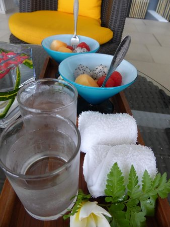 Beyond Resort Krabi: welcome pack, cool towel, fruits & juice