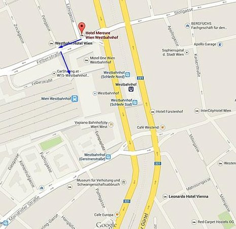 Hotel Mercure Wien Westbahnhof: 01 hotel map with shorter route to train station