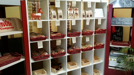 Red Moose Cookie Company: wall of cookies