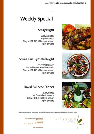 Weekly event at Tapis Restaurant : Every Monday we Have satay night all you can eat,