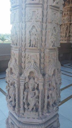 BAPS Shri Swaminarayan Mandir: One of the temple pillars upon entering