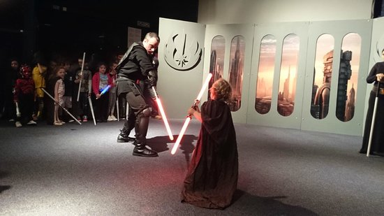 Armagh Astronomy Centre and Planetarium: Our 3 year old son fighting a Sith Lord at the Planetarium