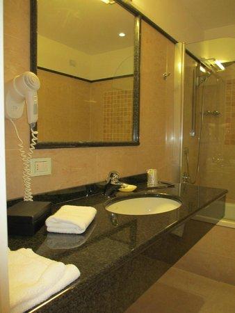 Hotel Embassy : Lavabo con tanto spazio per appoggiare tutti i propri prodotti (camera 803).