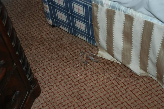 George Hotel Dorchester-on-Thames: Glass or broken light fittings under bed