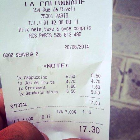 Cafe La Colonnade: the bill