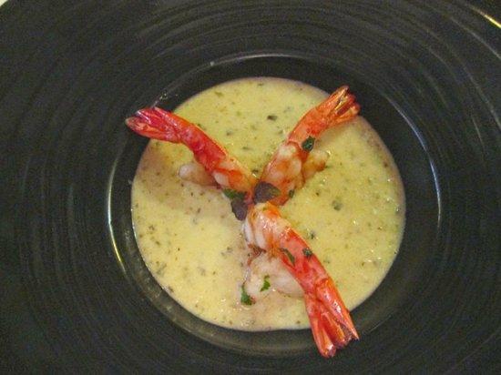 Auberge Nicolas Flamel: Sautéed shrimp in zucchini cream