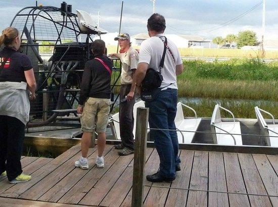 Gator Park: Boarding the air boat.
