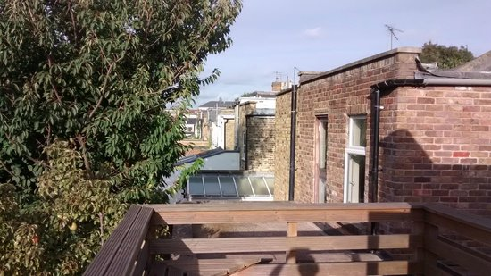 At-Home B&B Chiswick: View from the decking balcony outside the room.