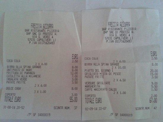 Freccia Azzurra Ristorante Pizzeria : I 2 scontrini per 2 adulti e 1 bimba di 2anni e 1/2! ;-) onesti e cortesi ma meglio prenotare!