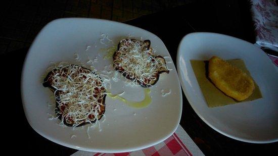 """Osteria Vicolo Cieco: Mozzarella fritta e melanzane """"simil parmigiana"""""""