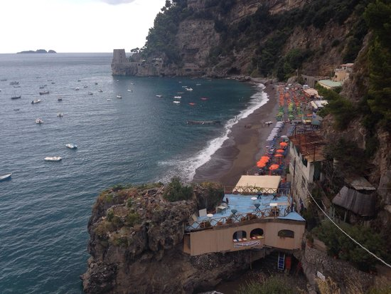 Fornillo: Aerial view of the beautiful beach (even on a cloudy afternoon).