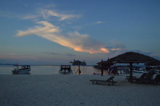 Scuba Junkie Mabul Beach Resort : beach in front of the resort