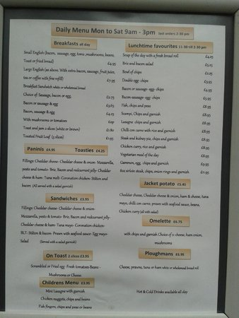 Price List For The BreakfastDinner Menu  Picture Of The Spinning
