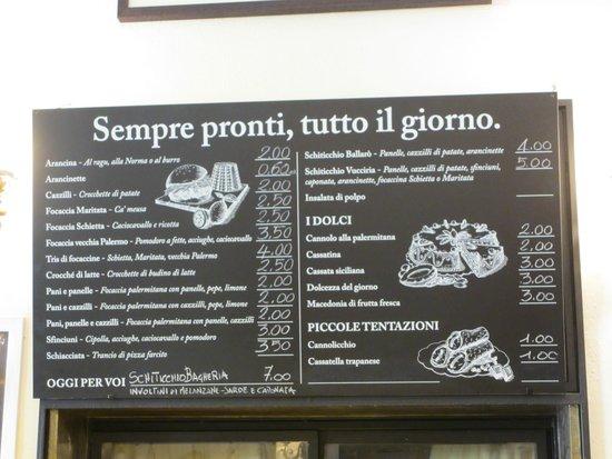Antica Focacceria San Francesco: menù