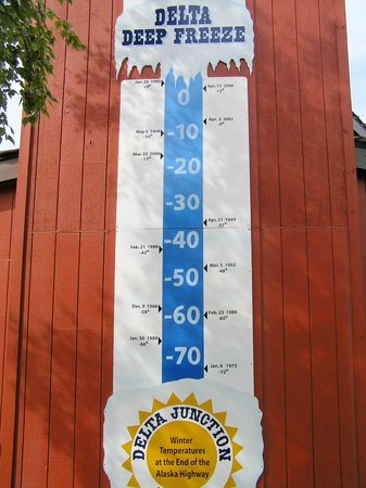 Alaska Highway: termometro delle temperature registrate