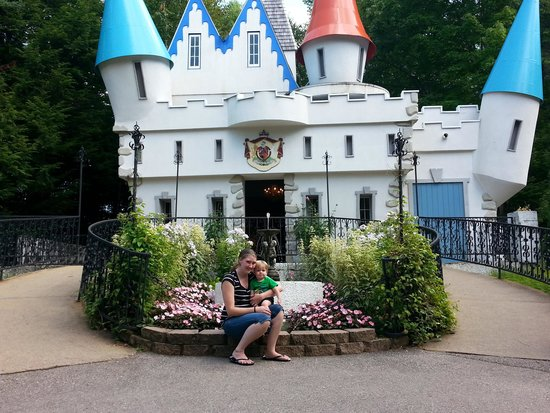Story Land: My son and I in front of Cinderellas castle.
