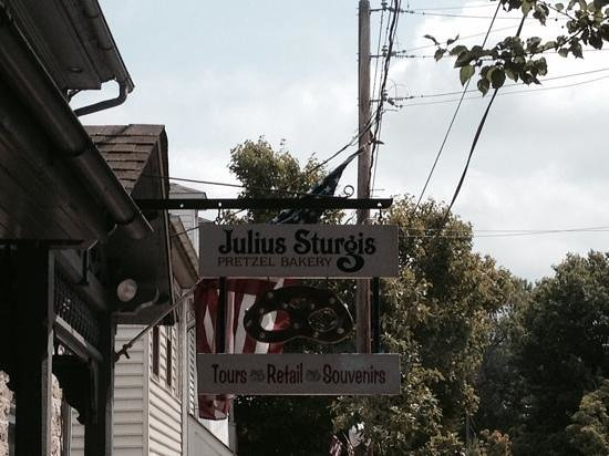 Julius Sturgis Pretzel Bakery: sign